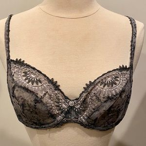 CHANTELLE Lace Unlined Demi Bra Grey